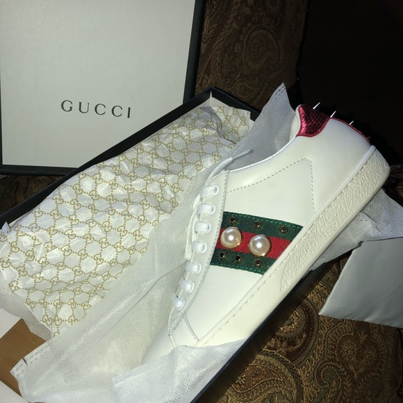 57e793ae60f92 Gucci Shoes - Gucci Ace Studded Web Low-Top Sneaker
